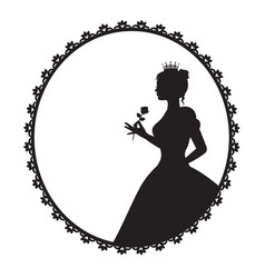princess in a magnificent dress holding a rose vector image