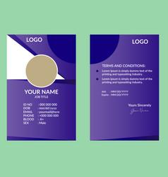 Purple nice id card vector