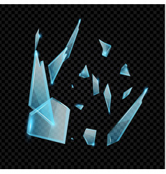 Realistic transparent shards broken glass blue vector