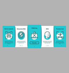 recognition onboarding elements icons set vector image
