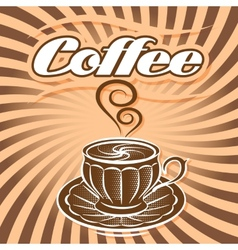 retro poster with cup coffee and curlicues vector image