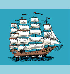 sailboat in sea summer adventure active vector image