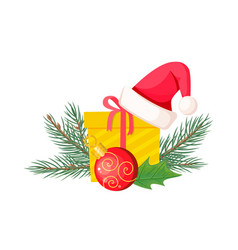 santa hat on giftbox near evergreen christmas tree vector image