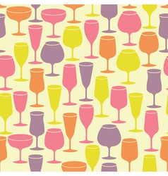 Seamless background with wine glasses vector image