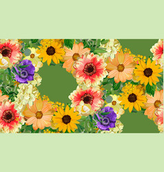 Seamless floral pattern yellow sunflowers flower vector