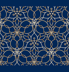 seamless linear golden flower pattern on blue vector image