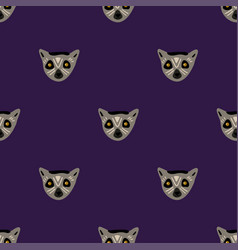 seamless pattern with faces of lemur vector image