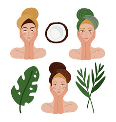 Set beautiful woman faces for skincare beauty vector