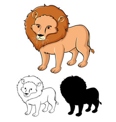 set lion cartoon vector image