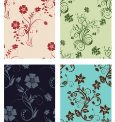set of color flowers backgrounds vector image
