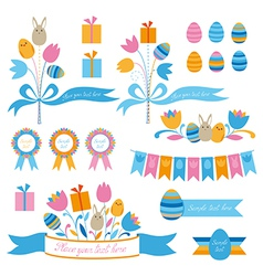 Set of easter design elements vector image