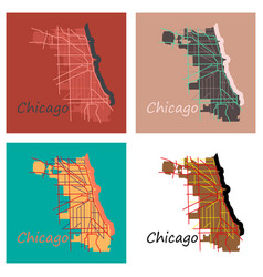 Set of flat map chicago city illinois roads vector