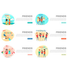 Set of friends conceptual web banners vector