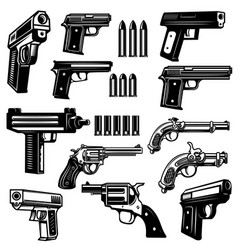 Set of handgun revolver design elements for logo vector