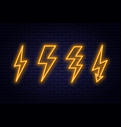 Set of neon lightning bolt signs neon sign vector