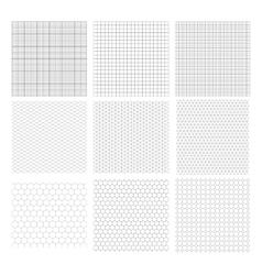 Set of nine gray geometric grids vector image