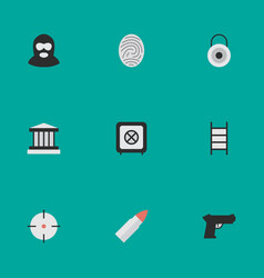 set of simple offense icons vector image vector image
