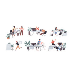 Set people working and relaxing in chaos vector