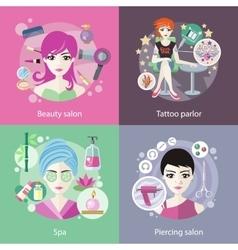 Set salons beauty tattoo piercing vector