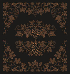 set vintage design elements grape branches vector image