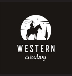 simple cowboy silhouette logo design vector image