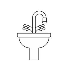 Sink in the bathroom icon outline style vector image