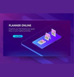 site template for planner online schedule vector image