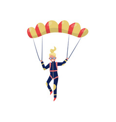 smiling woman flying with parachute professional vector image