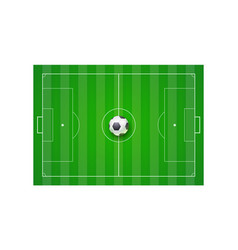 Soccer field with grass and ball top view vector