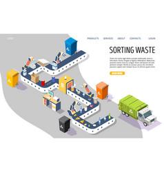 sorting waste website landing page design vector image