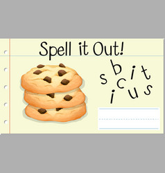 spell english word biscuit vector image