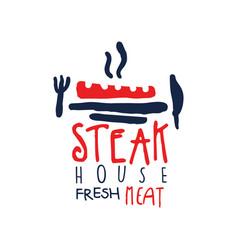 steak house freash meat logo vintage label in vector image