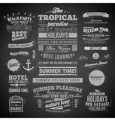 Summer Typography on Chalk Board Background vector image