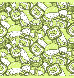 sushi meal green set seamless pattern vector image