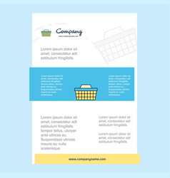 template layout for basket comany profile annual vector image