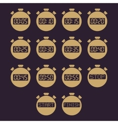 The stopwatch icon set of 14 icons Clock and vector