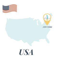 usa map with new york pin travel concept vector image