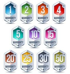 Warranty seal hexagon chrome badge vector