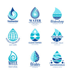 water logos aqua water drops and splashes vector image