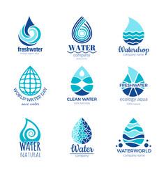 Water logos aqua water drops and splashes vector