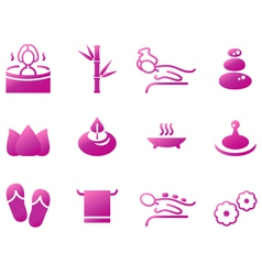 Wellness spa sauna and massage icons vector