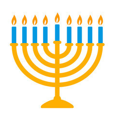 yellow hanukkah menorah with blue candles icon vector image