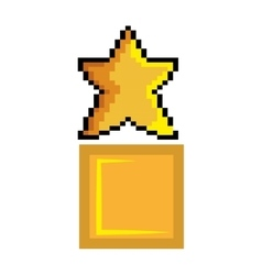 Yellow star pixel game figure vector