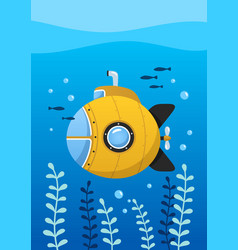 yellow submarine undersea with fishes vector image
