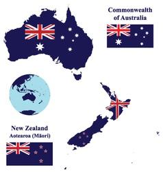Australia and new zealand map flag vector