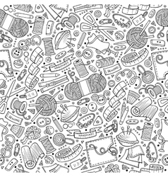 Cartoon cute hand drawn Handmade seamless pattern vector image