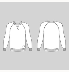Raglan long sleeve t-shirt outlined template vector