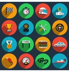 set of racing icons in flat style vector image vector image