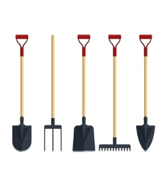 Set pitchfork shovel spade rake flat tool icon vector image