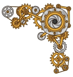 Steampunk collage of metal gears in doodle style vector image vector image